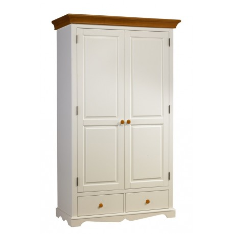 armoire penderie blanche et miel 2 portes beaux meubles pas chers. Black Bedroom Furniture Sets. Home Design Ideas