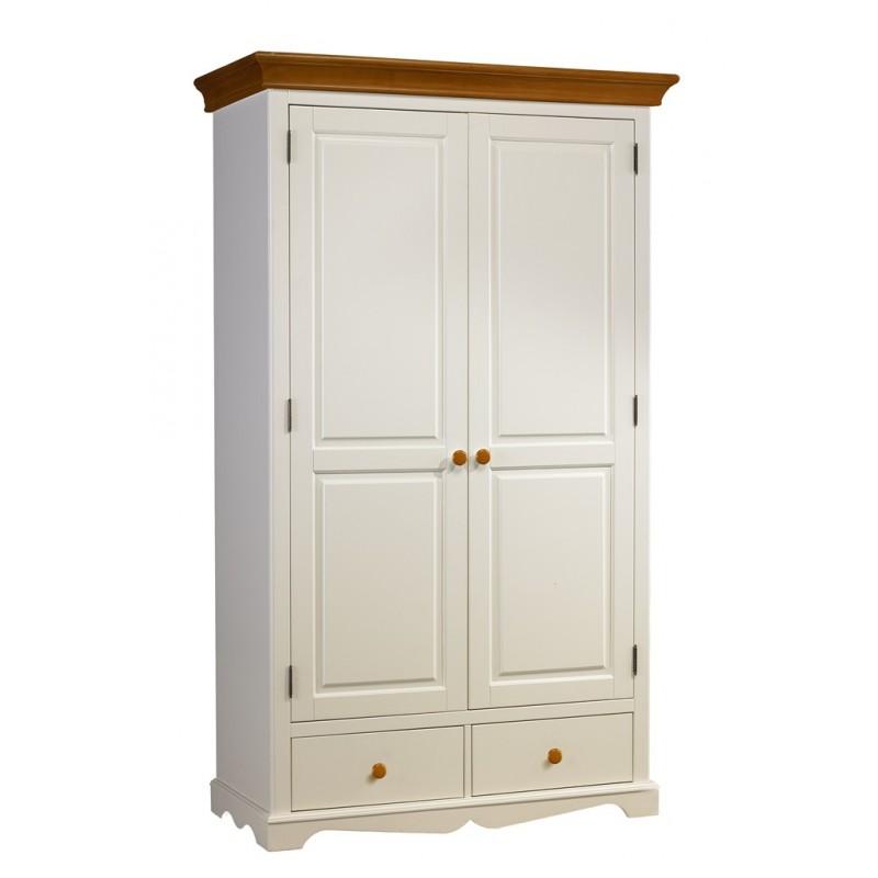 Armoire penderie blanche et miel 2 portes beaux meubles pas chers - Armoire blanche pas chere ...