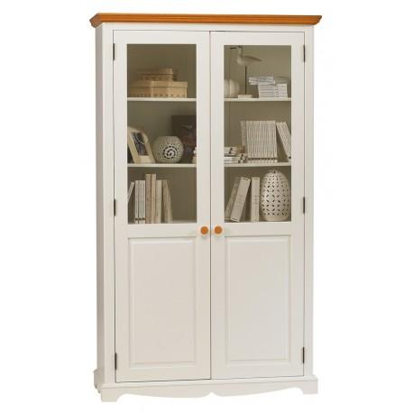 Meuble bibliothèque blanche 2 portes de style anglais 40222