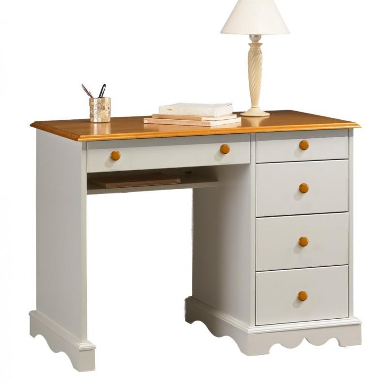 Bureau blanc et miel 5 tiroirs beaux meubles pas chers for Bureau blanc adulte