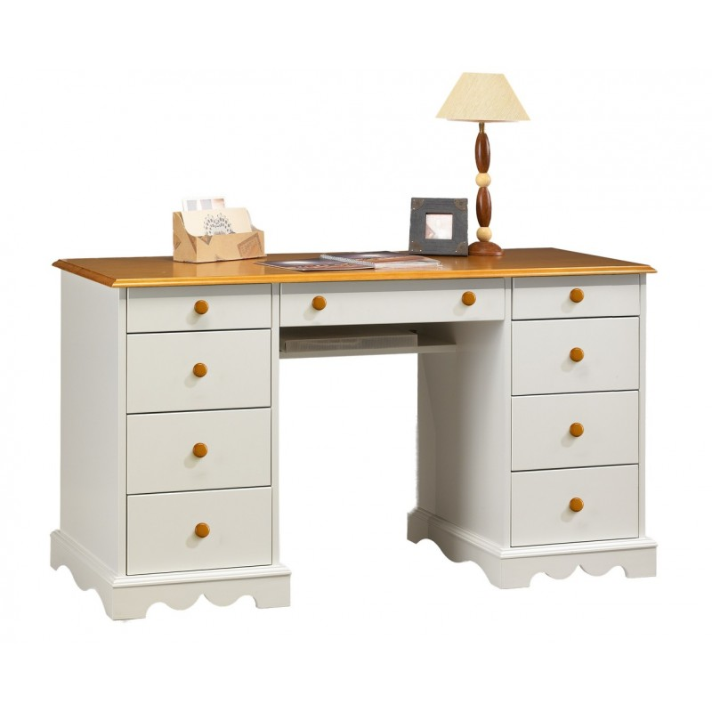 bureau ministre blanc et miel de style anglais beaux meubles pas chers. Black Bedroom Furniture Sets. Home Design Ideas