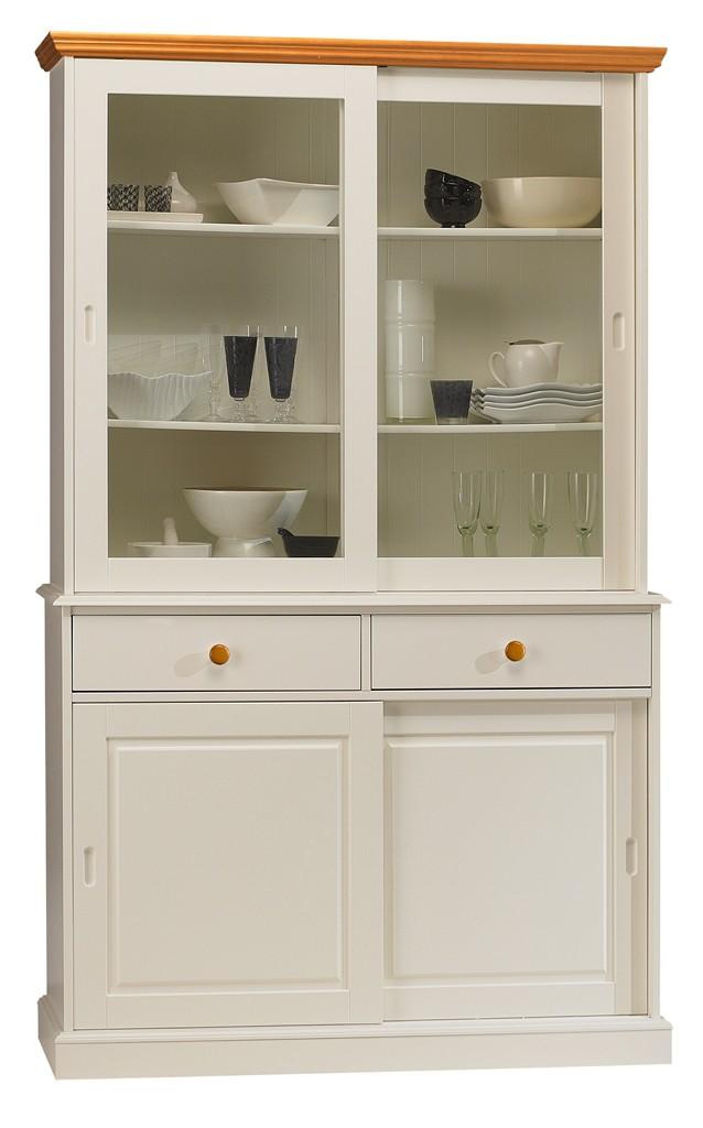 vaisselier blanc pas cher Meuble vaisselier blanc 4 portes coulissantes 40844