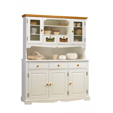 buffet vaisselier blanc et miel 5 portes beaux meubles pas chers. Black Bedroom Furniture Sets. Home Design Ideas
