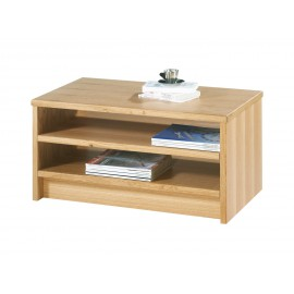 Table Basse Rectangle Plaquée Chêne Naturel 85 cm