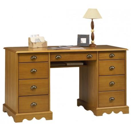 Bureau notaire / ministre style anglais pin massif miel 9T 38502