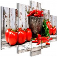 Tableau  Red Vegetables (5 Parts) Wood Wide