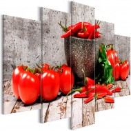 Tableau  Red Vegetables (5 Parts) Concrete Wide