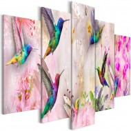 Tableau  Colourful Hummingbirds (5 Parts) Wide Pink