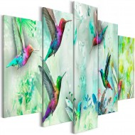 Tableau  Colourful Hummingbirds (5 Parts) Wide Green