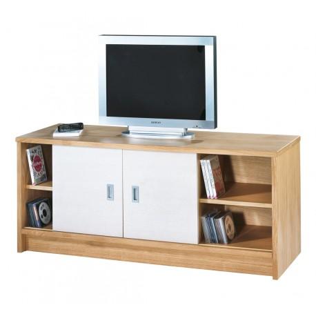 Meuble tv 2 portes coulissantes 1 tiroir plaqu ch ne - Meuble tv couleur chene ...