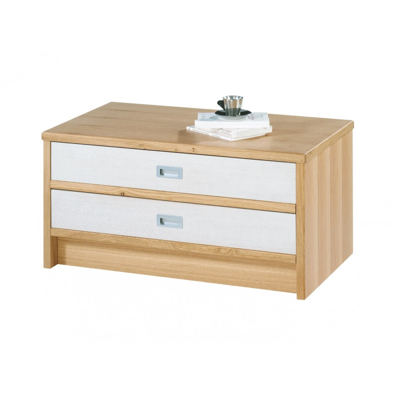 Table basse ch ne clair rectangle 2 tiroirs bancs - Table basse chene naturel ...