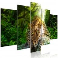 Tableau  Leopard Lying (5 Parts) Wide Green