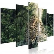 Tableau  Leopard Lying (5 Parts) Wide Pale Green