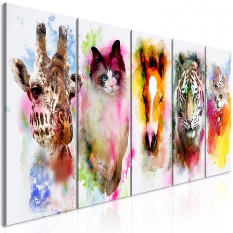 Tableau  Watercolour Animals (5 Parts) Narrow