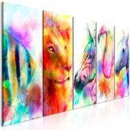 Tableau  Rainbow Watercolours (5 Parts) Narrow