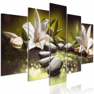 Tableau  Lilies and Stones (5 Parts) Wide Green