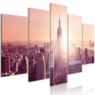 Tableau  Sun over Manhattan (5 Parts) Wide Orange