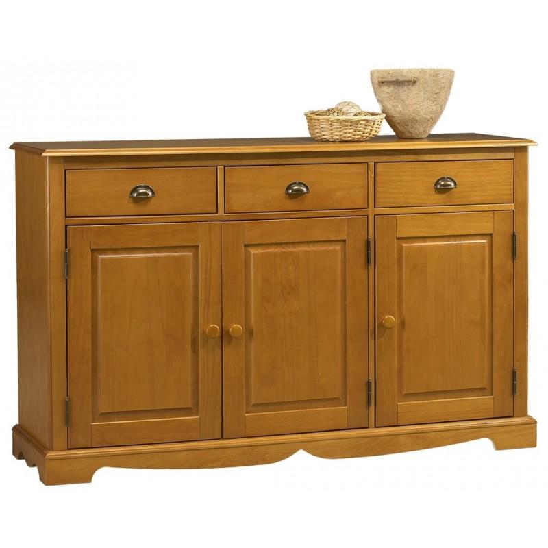 Buffet en pin miel 3 portes 3 tiroirs for Buffet bas sejour