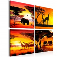 Tableau  African Animals (4 Parts)