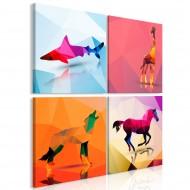 Tableau  Geometric Animals (4 Parts)