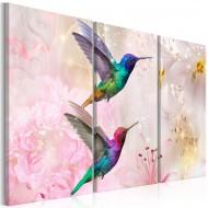Tableau  Pair of Hummingbirds (3 Parts) Pink