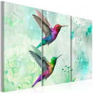 Tableau  Pair of Hummingbirds (3 Parts) Green