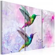 Tableau  Pair of Hummingbirds (3 Parts) Violet