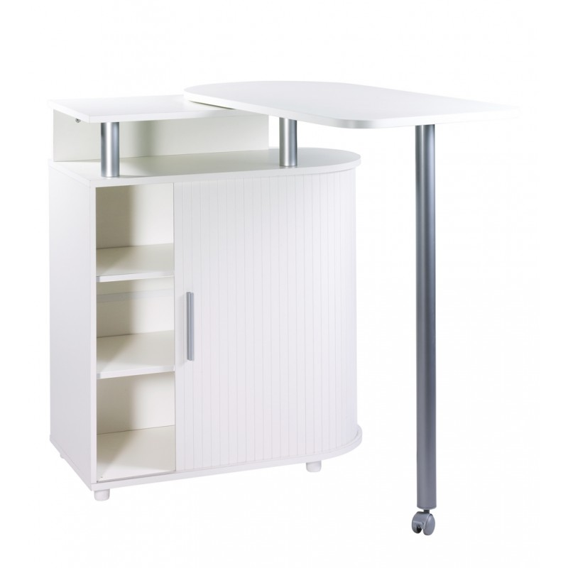 Meuble de rangement blanc avec table pivotante int gr e for Table de cuisine retractable