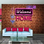Papier peint  Welcome home  pink neon