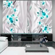 Papier peint  Cyan orchids in platinum