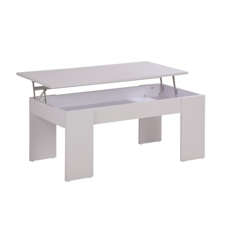 Table Basse Plateau Relevable Blanche