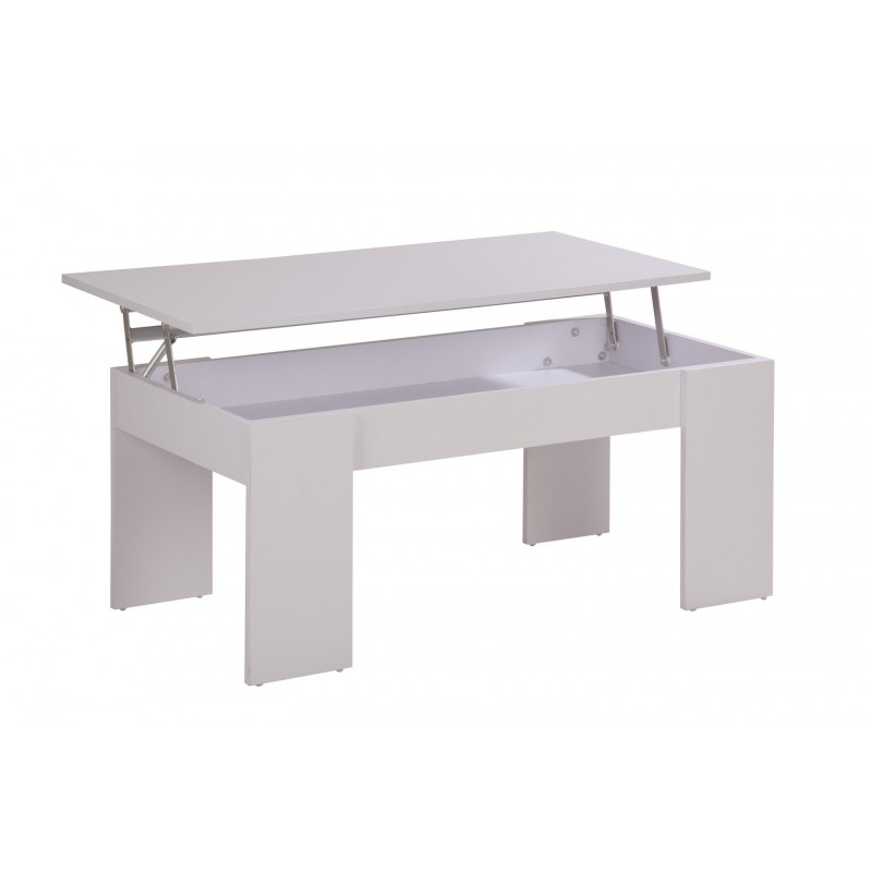 Table basse plateau relevable lincoln blanc - Table basse avec plateau relevable ...