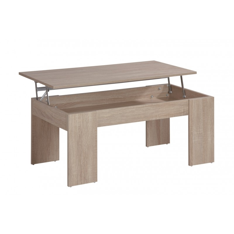 Table basse plateau relevable coloris ch ne beaux meubles pas chers - Table basse up and down pas cher ...