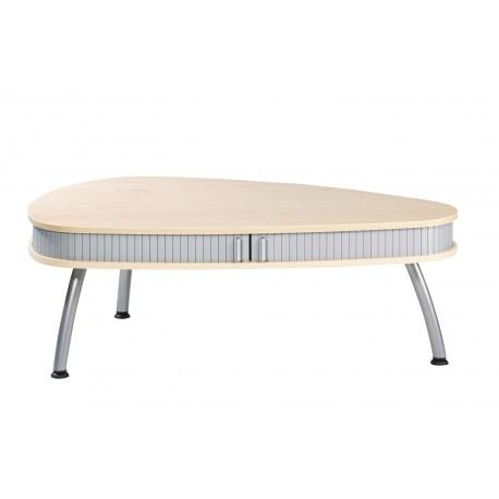 Table Basse Ovale Erable Alu à Rideau 3 Pieds