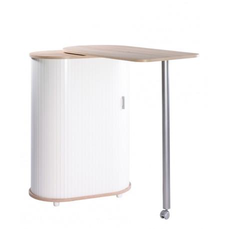 Table repas pivotante et meuble de rangement hetre blanc