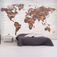 Papier peint  World Map Brick Wall