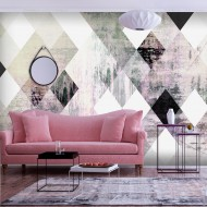 Papier peint  Rhombic Chessboard (Pink)