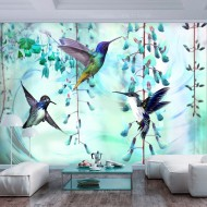 Papier peint  Flying Hummingbirds (Green)