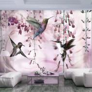 Papier peint  Flying Hummingbirds (Pink)