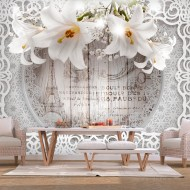 Papier peint  Lilies and Wooden Background