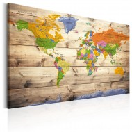 Tableau  Map on wood Colourful Travels