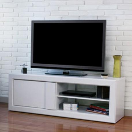meuble tv blanc 160 cm 1 porte 1 niche beaux meubles pas chers. Black Bedroom Furniture Sets. Home Design Ideas