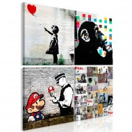Tableau  Banksy Collage (4 Parts)