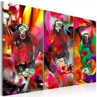 Tableau  Crazy Monkeys  triptych