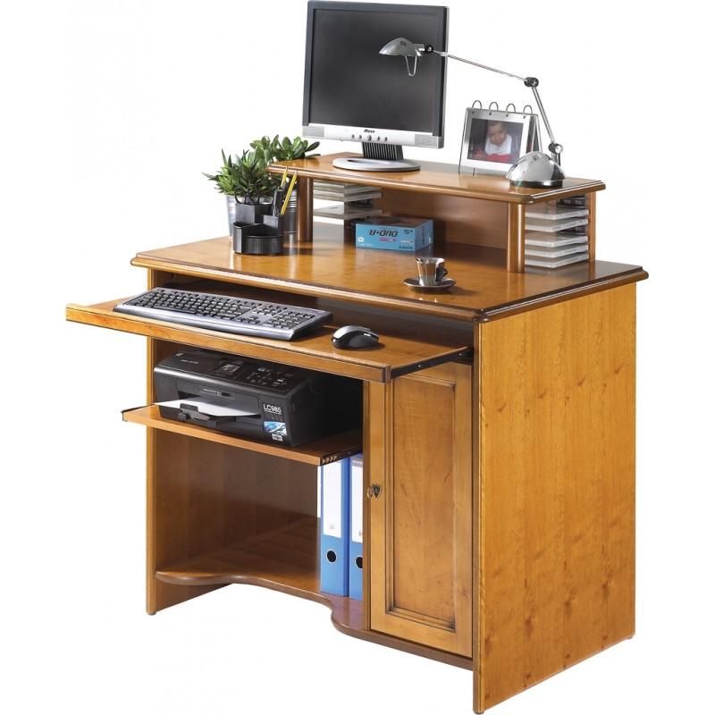 bureau informatique louis philippe merisier avec r hausse. Black Bedroom Furniture Sets. Home Design Ideas