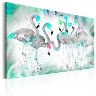 Tableau  Turquoise Flamingoes