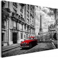 Tableau  Car in Paris (1 Part) Red Wide