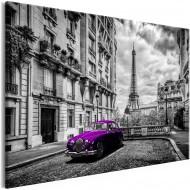 Tableau  Car in Paris (1 Part) Violet Wide