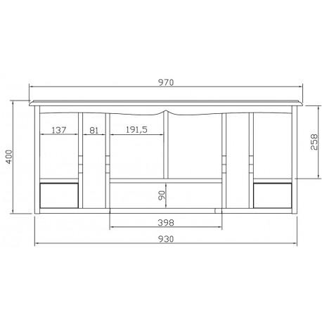 Surmeuble pour bonheur du jour style anglais blanc 40151