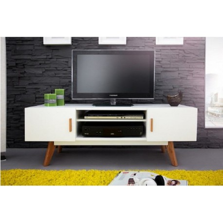 Meuble TV Blanc 2 Portes 4 Pieds Chêne Vintage